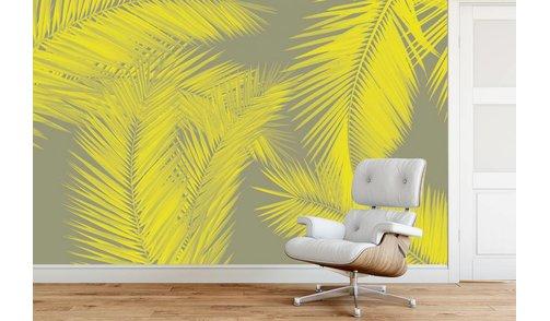 Self-adhesive photo wallpaper custom size - Duo Palm - Yellow