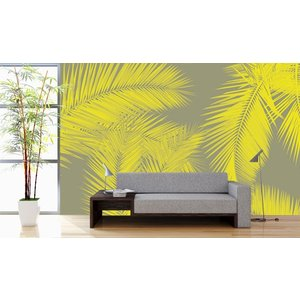 Fotobehang Duo Palm - Geel