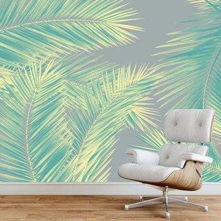 Selbstklebende Fototapete angepasst - Duo Palm - Grün