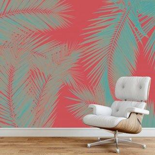 Selbstklebende Fototapete angepasst - Duo Palm - Rot