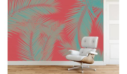 Self-adhesive photo wallpaper custom size - Duo Palm - Red