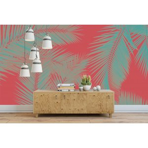 Fotobehang Duo Palm - Rood