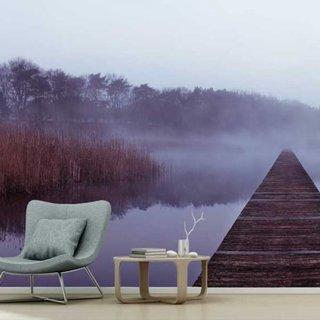 Selbstklebende Fototapete angepasst - Gerüst im Nebel