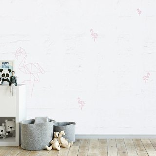 Self-adhesive photo wallpaper custom size - Flamingo Old Wall