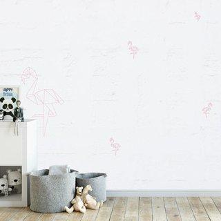 Zelfklevend fotobehang - Flamingo op oude muur