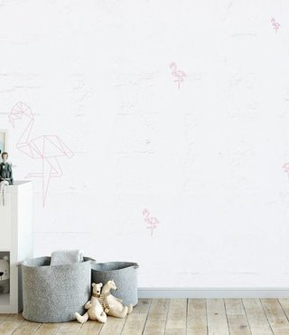 Fotobehang Flamingo oude Muur