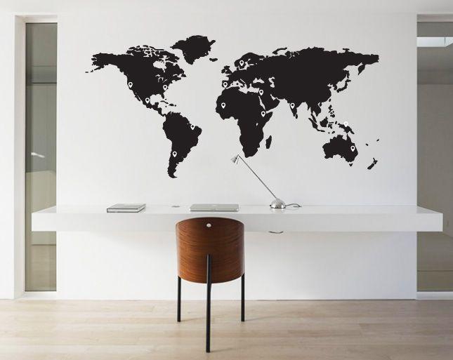 Foto Sticker Muur.Wall Decal World Map Pin Points Walldesign56 Wall Decals Murals