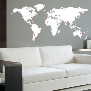 Wall Sticker - World Map with Pin Points