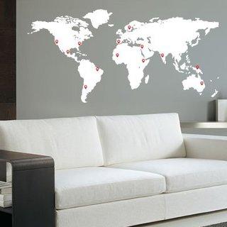 Wandaufkleber - Weltkarte mit Pin Points