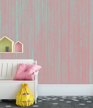 Photo Wallpaper Wood Pastel Pink