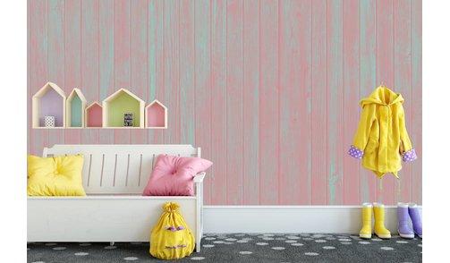 Zelfklevend fotobehang op maat - Hout Pastel Pink
