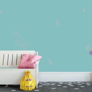 Selbstklebende Fototapete angepasst - Flamingo Petrol