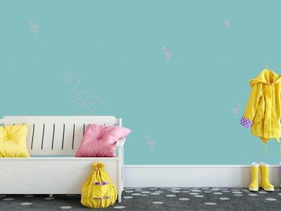 Mural Flamingo Petrol