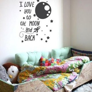 Wandaufkleber - Ich liebe dich zum Mond und zurück