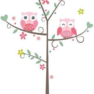 Wandaufkleber - Baum mit Eule