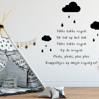 Muursticker - Tikke Takke Regen