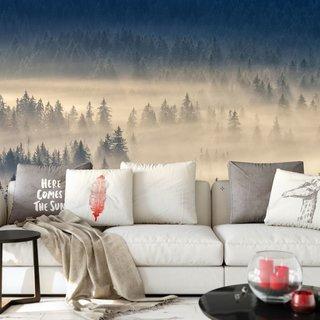 Selbstklebende Fototapete angepasst - Wald im Nebel