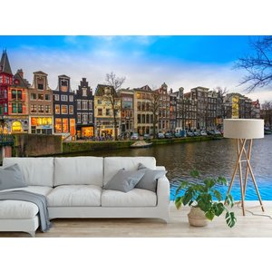 Fotobehang Amsterdam huizen