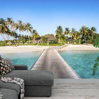 Selbstklebende Fototapete angepasst - Strand Malediven