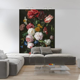 Selbstklebende Fototapete - Stillleben mit Blumen in einer Glasvase - Jan Davidsz de Heem