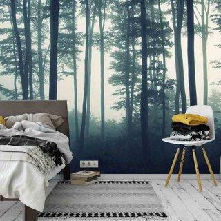 Selbstklebende Fototapete - Wald im Nebel