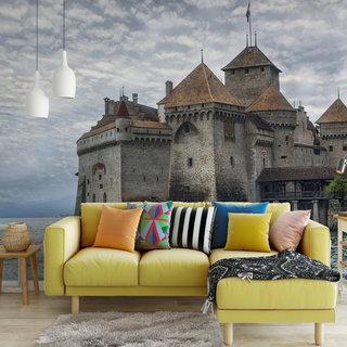 Selbstklebende Fototapete angepasst -  Schloss in der Schweiz