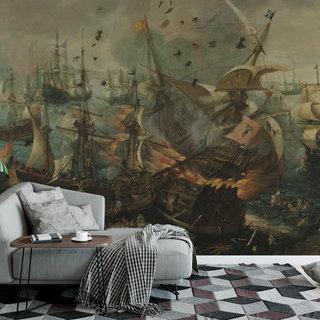 Zelfklevend fotobehang op maat - Slag bij Gibraltar van Cornelis Claesz. van Wieringen