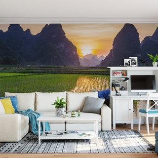 Selbstklebende Fototapete angepasst - Reisfelder 1