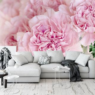 Selbstklebende Fototapete angepasst - Rosa blümchen