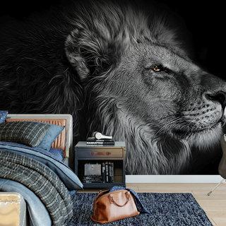 Selbstklebende Fototapete angepasst - Löwe in schwarz und weiß