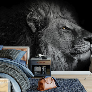 Self-adhesive photo wallpaper custom size - Lion in black and white