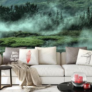 Selbstklebende Fototapete angepasst - Kleiner Bach im Nebel