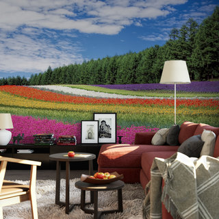 Selbstklebende Fototapete angepasst - Blumenfeld