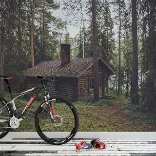 Selbstklebende Fototapete angepasst - Haus im Wald
