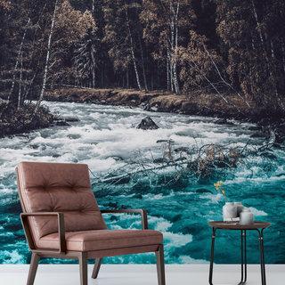 Zelfklevend fotobehang op maat - Winterse beek