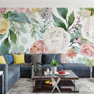 Selbstklebende Fototapete angepasst - Blumenwand