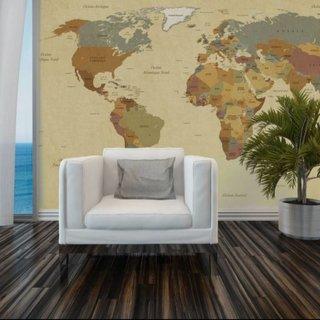 Self-adhesive photo wallpaper custom size - Vintage World Map 1