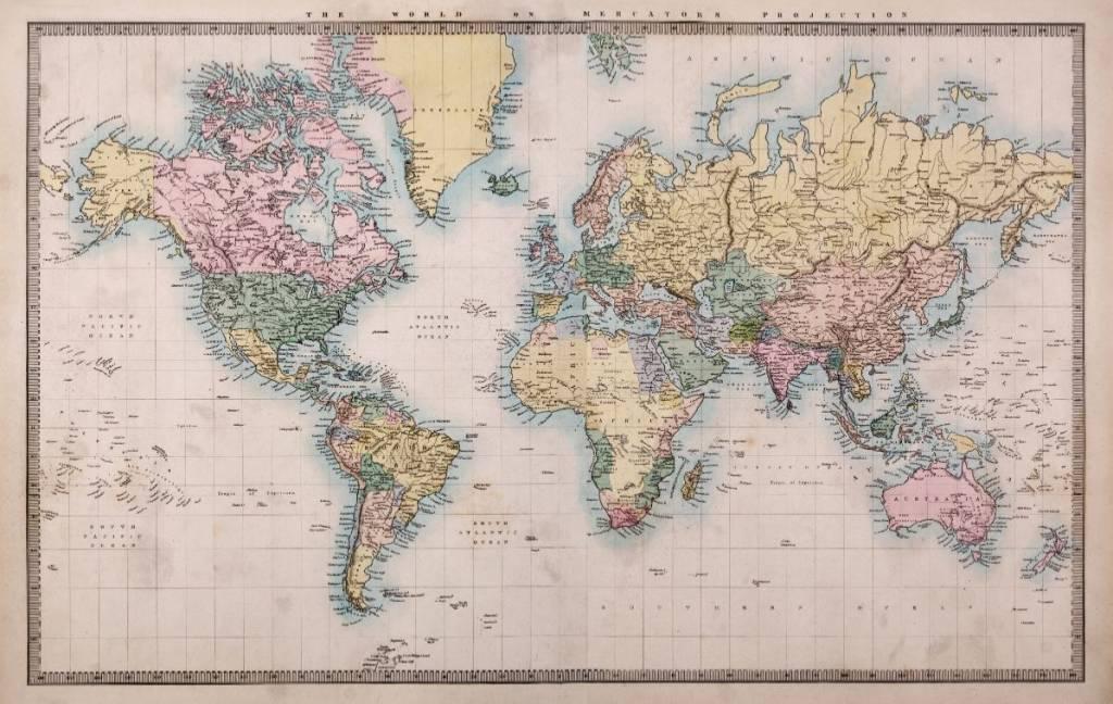 Onwijs Self-adhesive photo wallpaper - World Map Vintage 2 | Walldesign56 HE-68