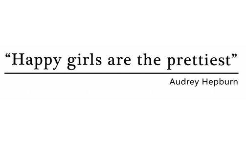 Muursticker - Happy Girls are the prettiest - audrey hepburn