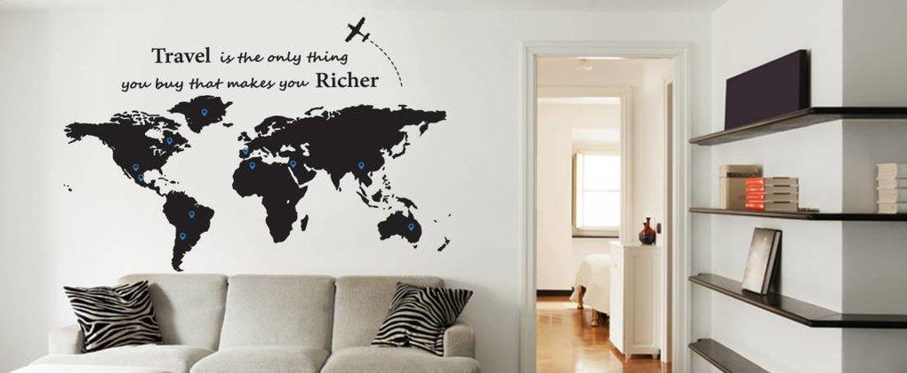 Welche Länder haben Sie schon besucht; Weltkartenaufkleber