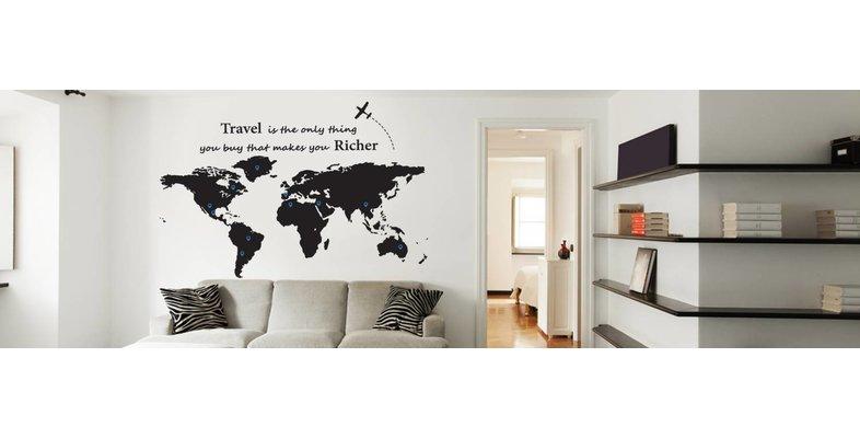Muursticker Wereldkaart met Pin Points