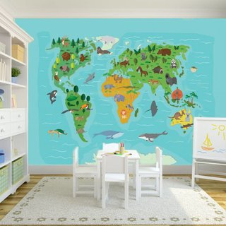 Self-adhesive photo wallpaper custom size - World Map Kids