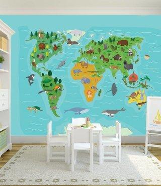 Mural Weltkarte für Kinder