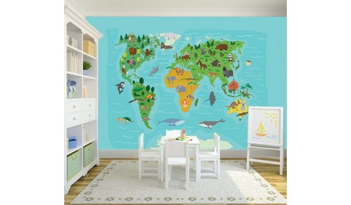 Self-adhesive photo wallpaper custom size - World Map Kids