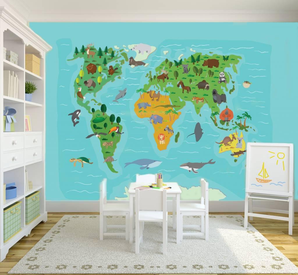 Mural Weltkarte für Kinder | Walldesign56 - Wandtattoos - Fototapete ...