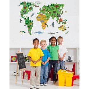 Wand-Aufkleber Weltkarte Kinder