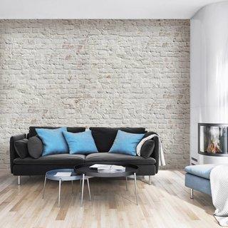 Zelfklevend fotobehang op maat Stenen - Baksteen Wit Retro design