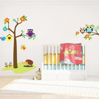 Wall Sticker - Tree with Owls and Branch