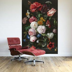 Zelfklevend Fotobehang Stilleven met bloemen in een glazen vaas - Jan Davidsz de Heem