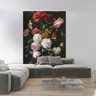 Fotobehang Stilleven met bloemen in een glazen vaas - Jan Davidsz de Heem